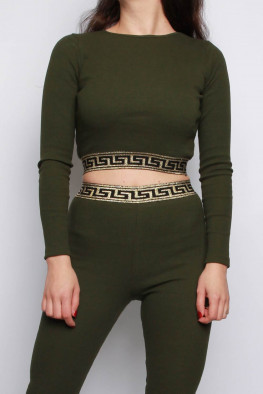 Ribbed Geometric Trim Top & Leggings Lounge Set
