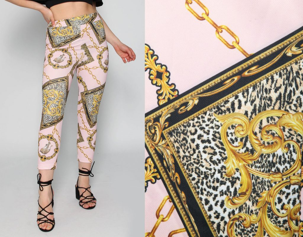 High Waisted Scarf Print Trousers in Baby Pink