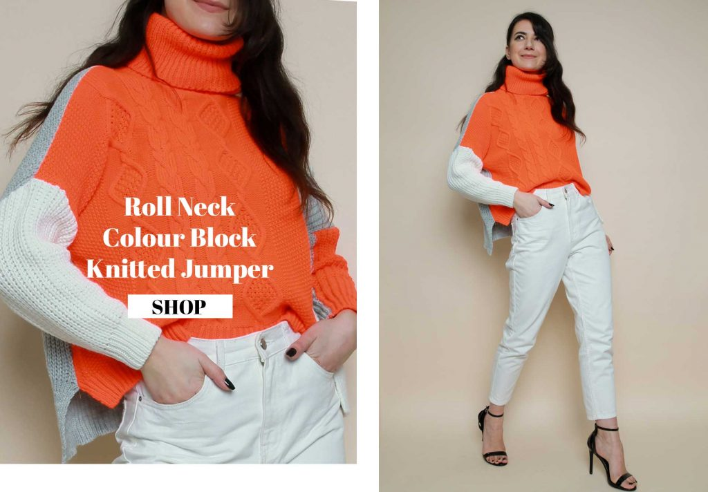 Roll Neck Colour Block Knitted Jumper MC6138