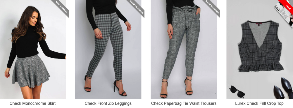 Checked Printed Trousers, Skirt and Crop Top