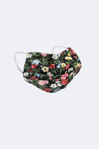 Black Surgical Style Floral Cotton Reusable Face Mask
