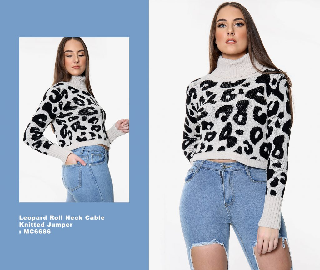 Leopard Roll Neck Cable Knitted Jumper MC6686