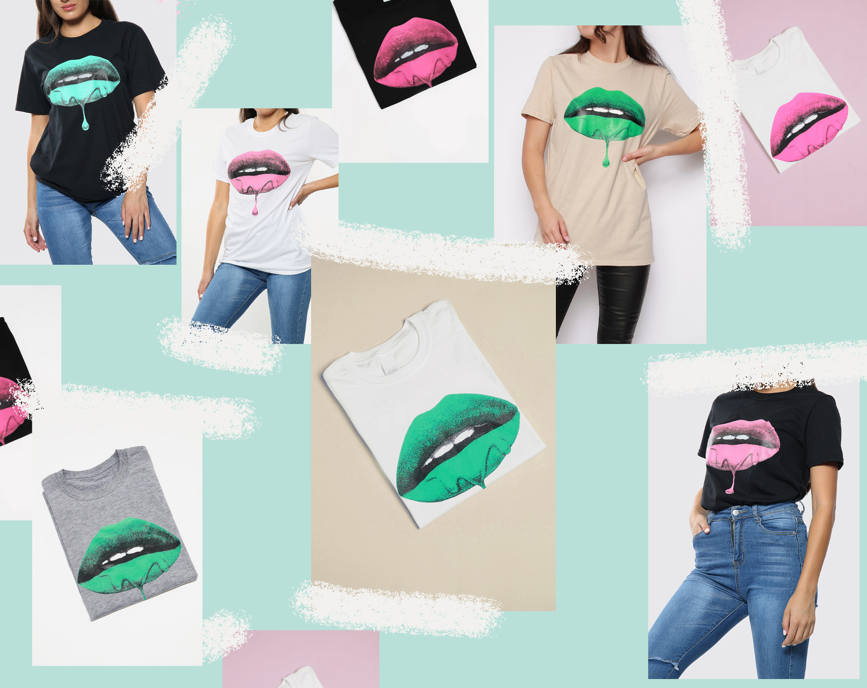 Lips Printed in green and pink on Oversized T Shirts